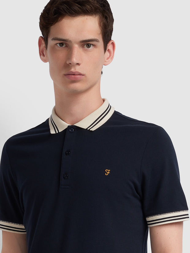 Stanton Slim Fit Tipped Polo Shirt In True Navy