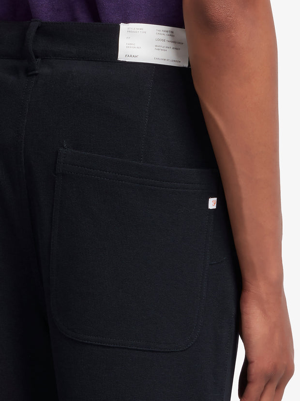 Hawtin Relaxed Fit Waffle Hopsack Cropped Trousers In True Navy
