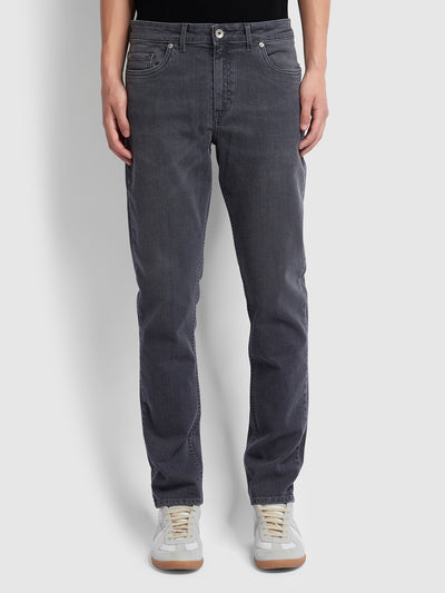 DAUBENEY TAPERED FIT GREY STRETCH JEANS IN MID GREY