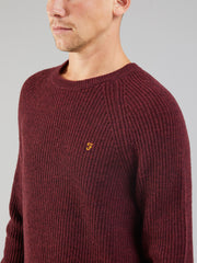 Garway Lambswool Ribbed Knit Crew Neck Jumper In Farah Red Marl