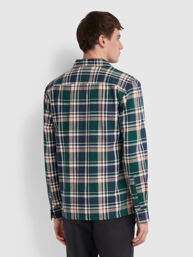 Bewlay Casual Fit Check Shirt In Bright Emerald