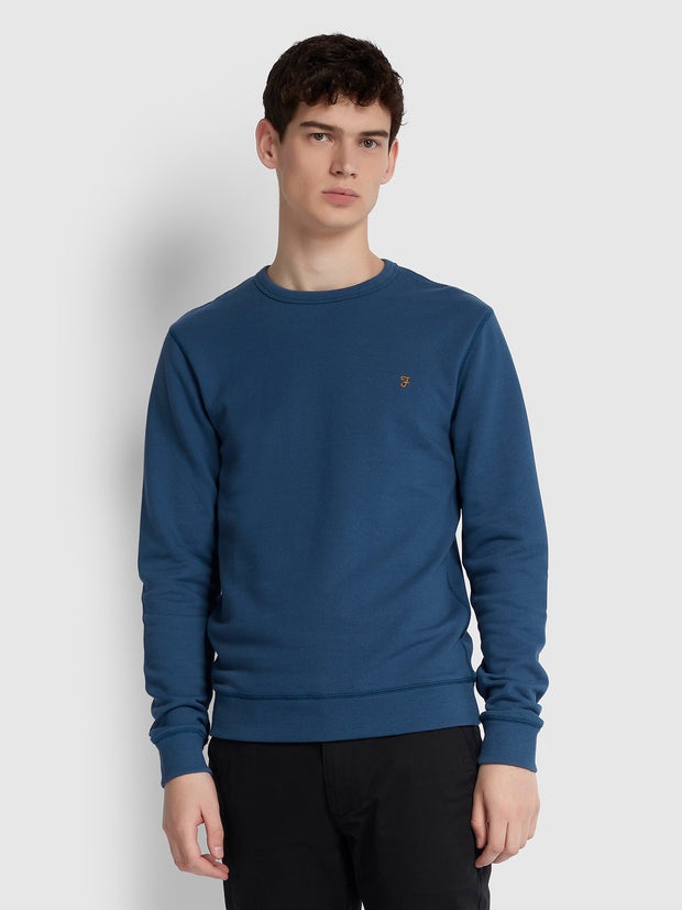 Tim Cotton Crew Neck Sweatshirt In Cold Metal