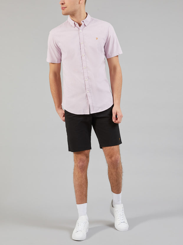 Steen Slim Fit Short Sleeve Brushed Cotton Shirt In Iris