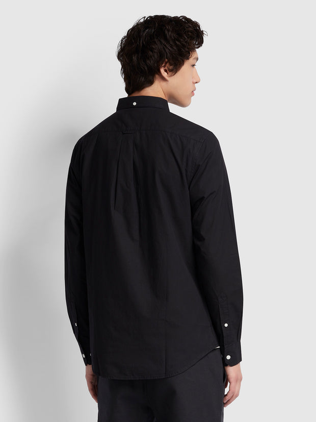 Farley Slim Fit Poplin Shirt In Deep Black