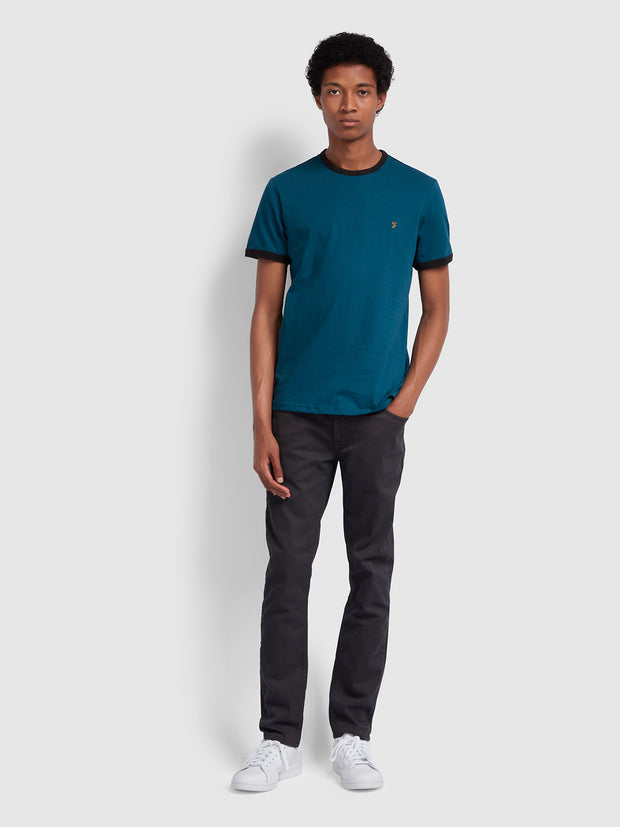 Groves Slim Fit Ringer T-Shirt In Teal