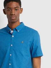 Brewer Slim Fit Short Sleeve Organic Cotton Oxford Shirt In Maritime Blue
