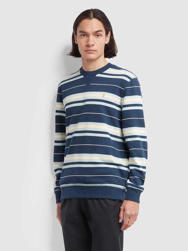 Noble Cotton Striped Crew Neck Sweatshirt In Yale