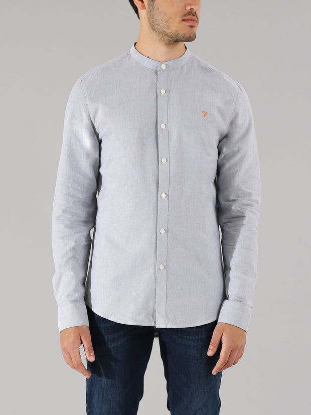 BREWER SLIM FIT GRANDAD OXFORD SHIRT IN ANTHRACITE