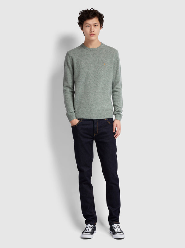 ROSECROFT LAMBSWOOL CREW NECK JUMPER IN WINTER BALSAM MARL
