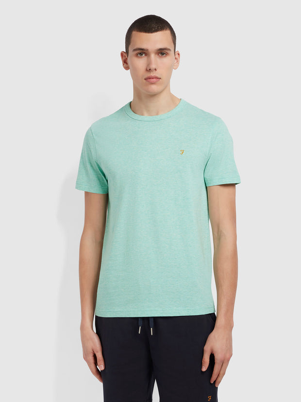 Danny Slim Fit Organic Cotton T-Shirt In Green Crest Marl