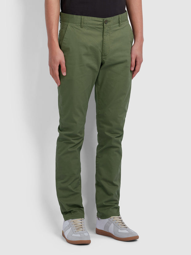 Elm Regular Fit Twill Chinos In Vintage Green