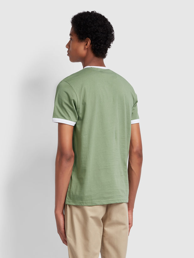 Groves Slim Fit Ringer T-Shirt In Winter Balsam