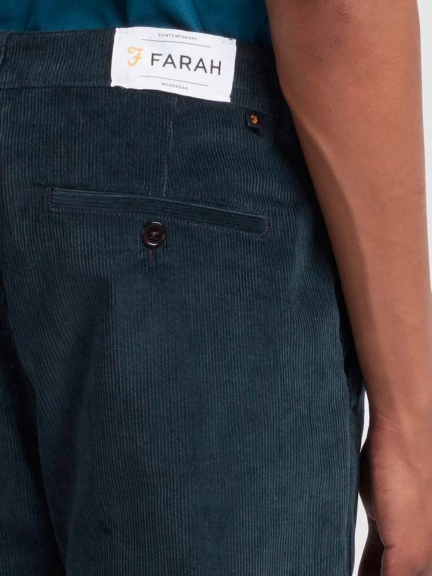 Elm Regular Fit Stretch Cord Trousers In True Navy