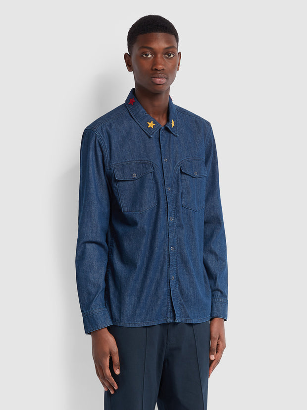 Farah X YMC Denim Shirt In Worn Rinse