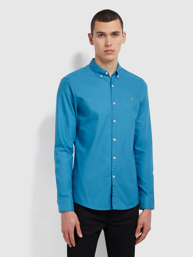 Brewer Slim Fit Organic Cotton Oxford Shirt In Maritime Blue