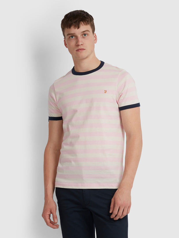 BELGROVE SLIM FIT STRIPED T-SHIRT IN PINK HAZE