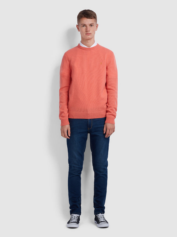 ROSECROFT LAMBSWOOL CREW NECK JUMPER IN REBEL PINK