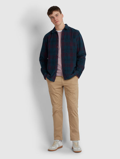 HEMMINGS RELAXED FIT TARTAN CORD OVERSHIRT IN YALE