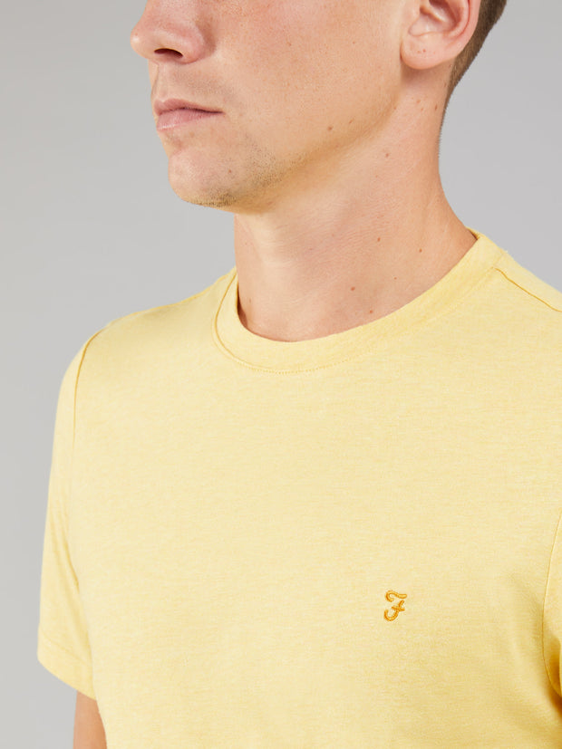 DENNY SLIM FIT MARL T-SHIRT IN SMILEY YELLOW MARL
