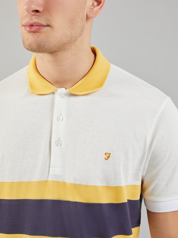 Rushton Striped Polo Shirt In White