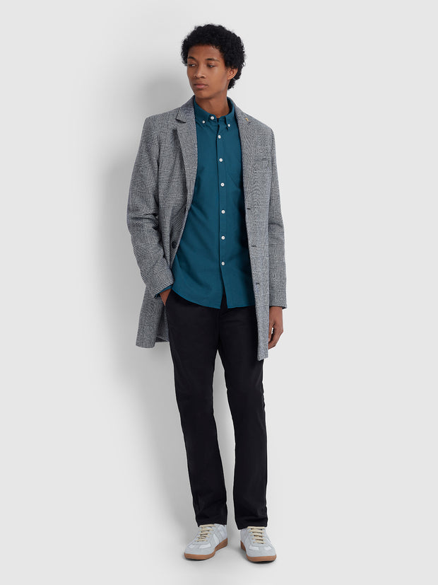 Ruxton Check Wool Blend Overcoat In Grey