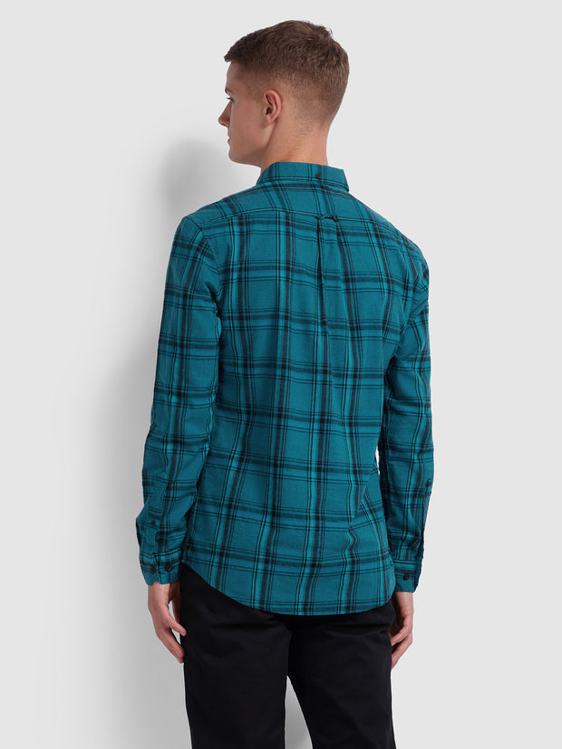 STEEN SLIM FIT BRUSHED COTTON CHECK SHIRT IN TEAL