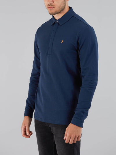 EARLSTON SLIM FIT LONG SLEEVE POLO SHIRT IN YALE