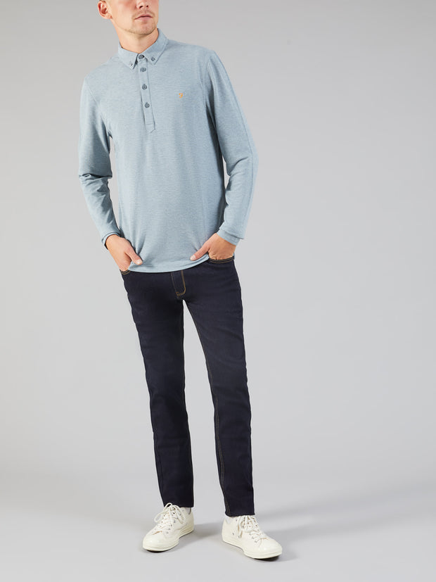 Merriweather Slim Fit Long Sleeve Polo Shirt In Shadow Marl