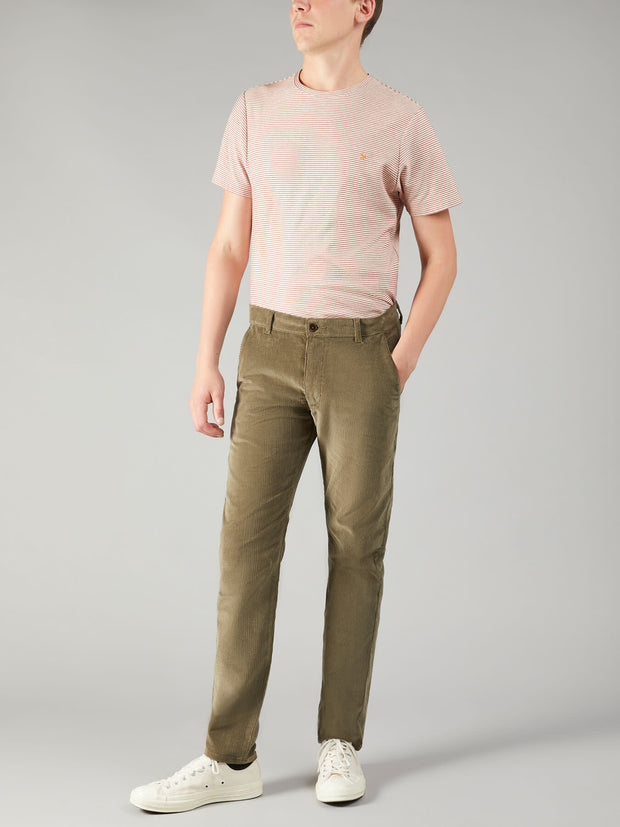 ELM REGULAR FIT STRETCH CORD TROUSERS IN VINTAGE GREEN