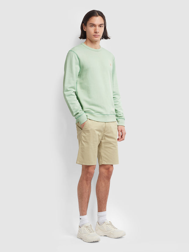 Tim Cotton Crew Neck Sweatshirt In Green Haze