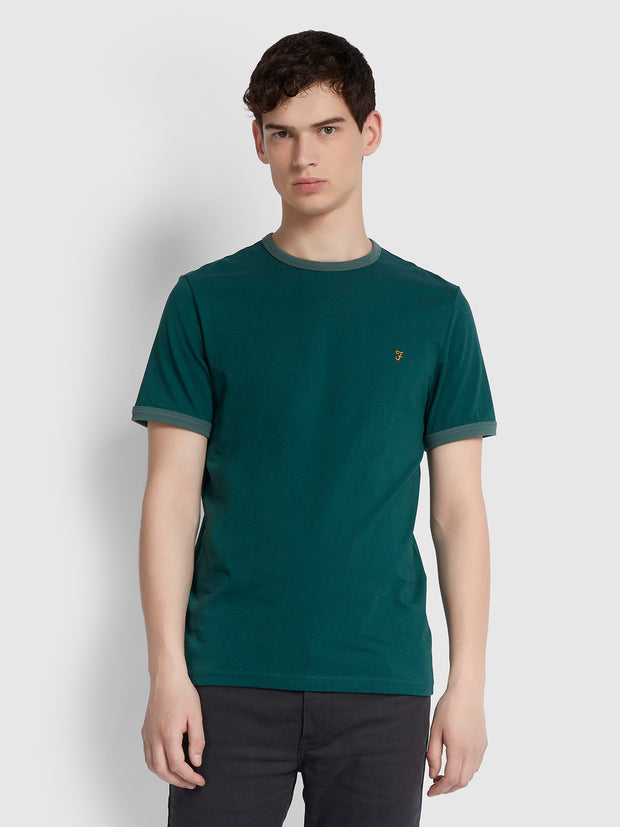 Groves Slim Fit Ringer T-Shirt In Bright Emerald
