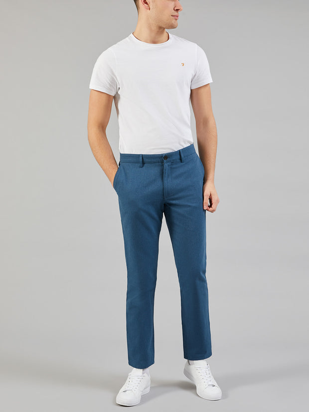 ELM REGULAR FIT COTTON HOPSACK TROUSERS IN BLUE STAR