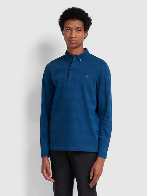 STAPLETON SLIM FIT LONG SLEEVE STRIPED POLO SHIRT IN BLUE PEONY
