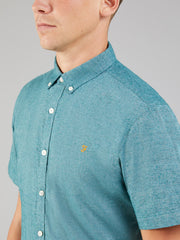 STEEN SLIM FIT SHORT SLEEVE BRUSHED COTTON SHIRT IN MIDNIGHT GREEN