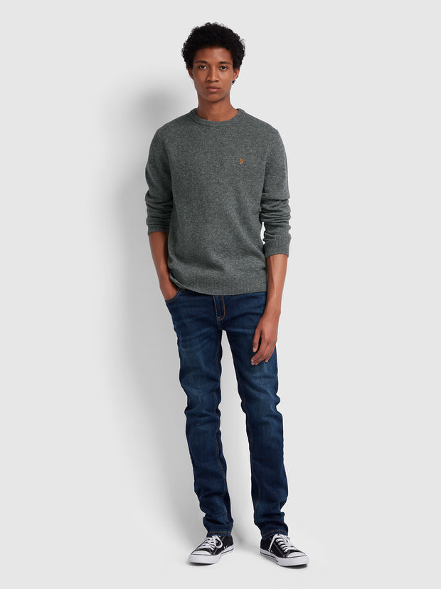 ROSECROFT LAMBSWOOL CREW NECK JUMPER IN GRAVEL MARL