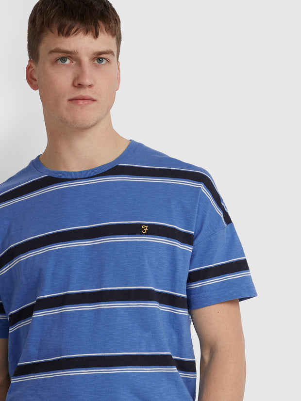 SAMUELSON RELAXED FIT STRIPED T-SHIRT IN BLUE RIVER