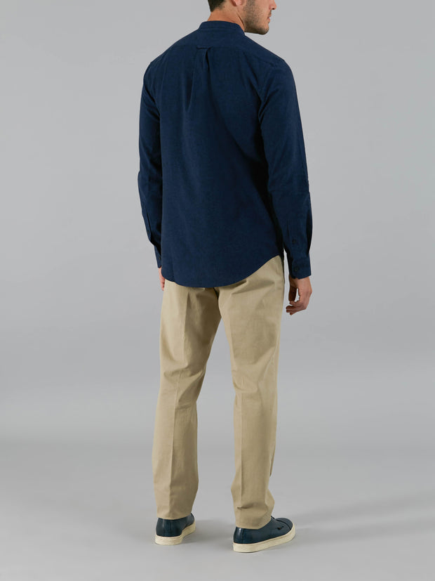 STEEN SLIM FIT GRANDAD BRUSHED COTTON SHIRT IN TRUE BLUE