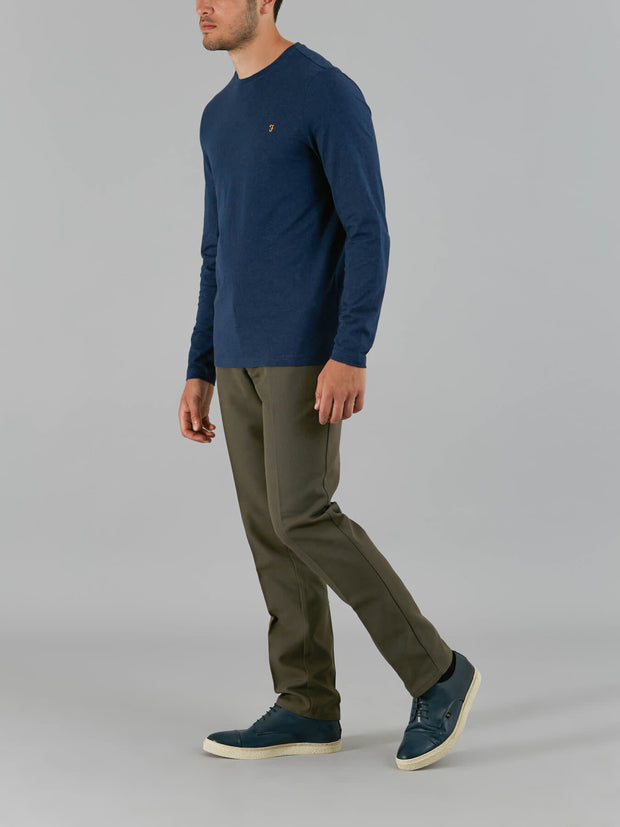 DENNY SLIM FIT LONG SLEEVE T-SHIRT IN YALE MARL