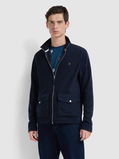 Findley Zip Through Sweatshirt In True Navy