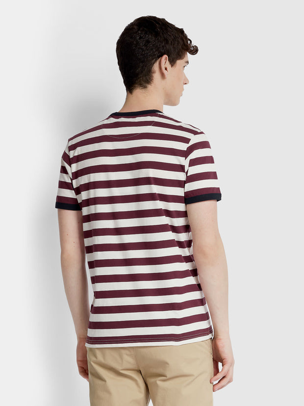 BELGROVE SLIM FIT STRIPED T-SHIRT IN FARAH RED
