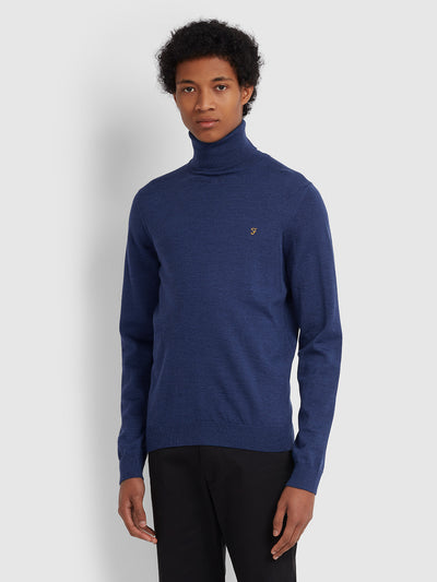 GOSFORTH MERINO WOOL ROLL NECK JUMPER IN BLUE PEONY MARL