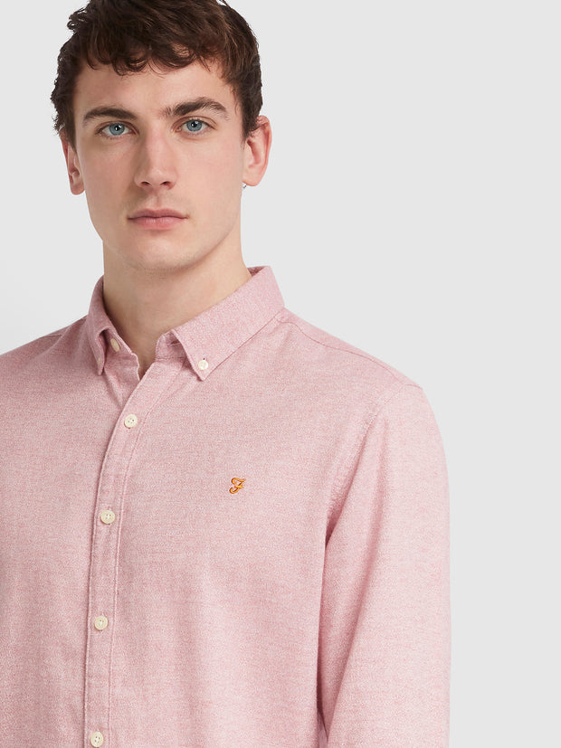 Kreo Slim Fit Brushed Cotton Shirt In Cool Pink