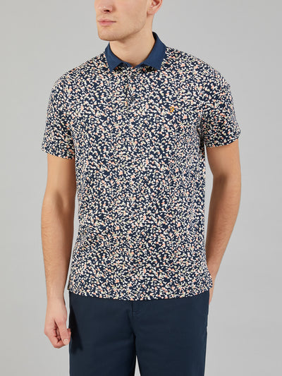 Nelson Slim Fit Printed Polo Shirt In True Navy