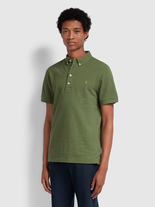RICKY SLIM FIT POLO SHIRT IN WINTER BALSAM MARL