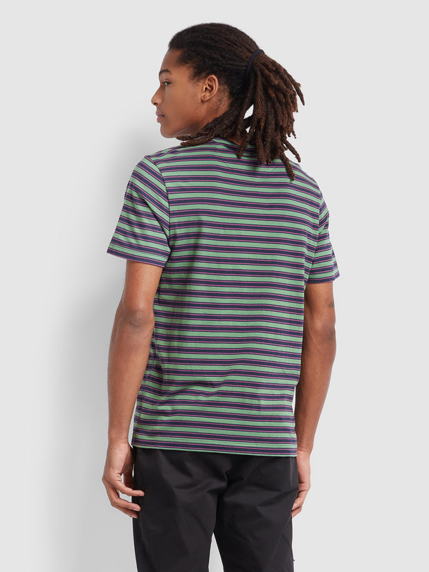 India Slim Fit Striped T-Shirt In True Navy