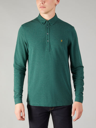 Merriweather Slim Fit Long Sleeve Polo Shirt In Gillespie Green Marl