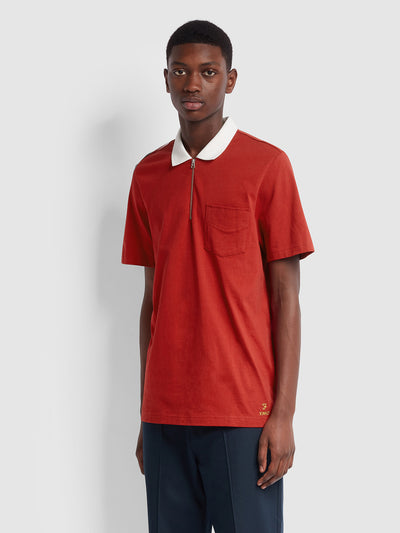 Farah X YMC Lubbock Polo Shirt In Chilli Pepper