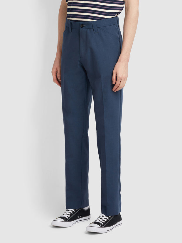 Hopsack 100 Straight Leg Trousers In Farah Teal