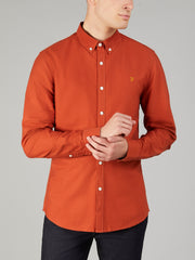 Brewer Slim Fit Oxford Shirt In Rust