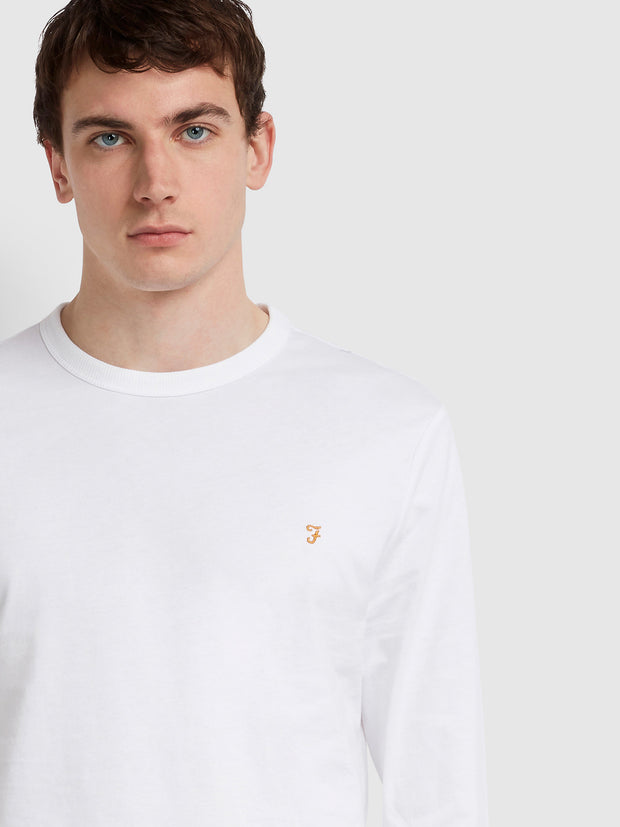 WORTH SLIM FIT LONG SLEEVE T-SHIRT IN WHITE